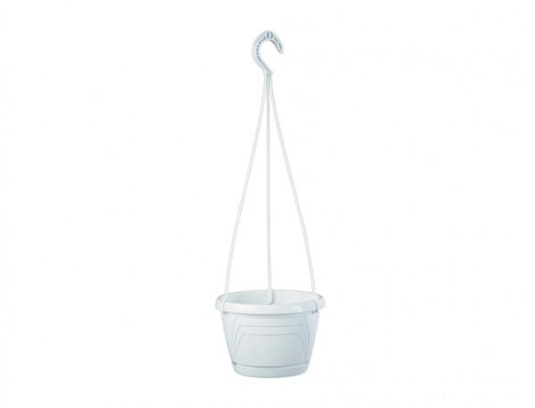 Květináč závěsný LOGATO 20 cm bílý Plastový lesklý závěsný květník s podmiskou. Na květníku jsou vylisovány od horního k dolnímu okraji trojúhelníky. Hodí se k zavěšení s výsazenými převislými rostlinami. Rozměry: d. 20 x 15cm.