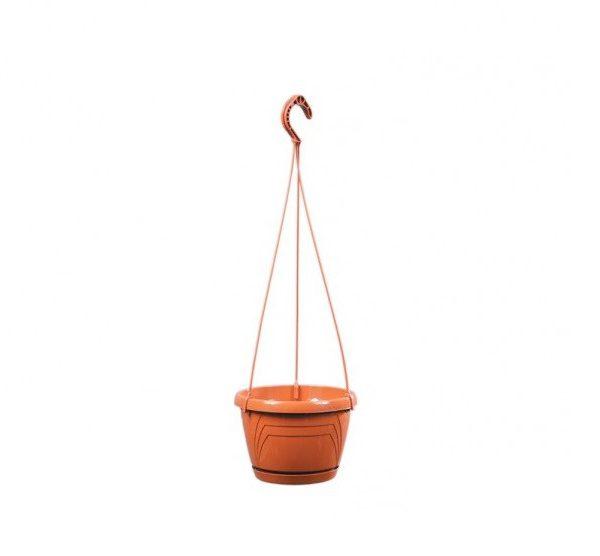 Květináč závěsný LOGATO 22 cm terakota Plastový lesklý závěsný květník s podmiskou. Na květníku jsou vylisovány od horního k dolnímu okraji trojúhelníky. Hodí se k zavěšení s vysazenými převislými rostlinami. Rozměry: d. 22 x 16cm.