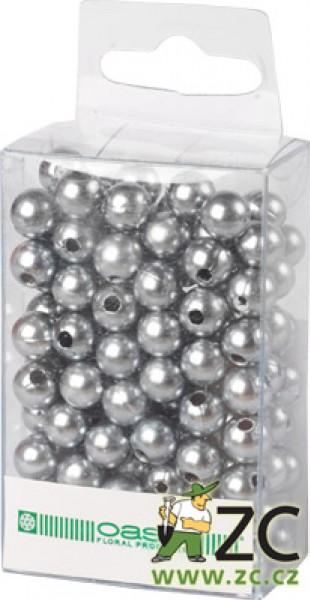 Dekorační perly - 8 mm (144 ks) stříbrné Popis:Dekorační umělohmotné navlékací perly v průhledné plastové krabičce na zavěšení