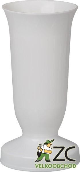Váza hřbitovní KALICH těžké dno bílá Popis:Plastová váza se zátěží v podstavci určená především na hřbitov