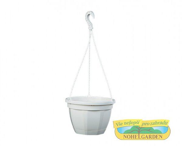Květináč závěsný OCTO 25 cm bílý Závěsný plastový květník s podmiskou o průměru 25 cm a výšce 17 cm. Vhodný pro vysazení převislých rostlin. Závěs je plastový