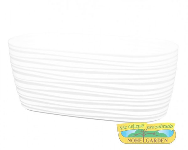 Truhlík Sahara Petit 27 cm bílý Lesklý plastový truhlík s jemnými vlnkami po celém obvodu. Šířka: 27 cm