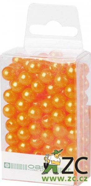 Dekorační perly - 8 mm (144 ks) meruňkové Popis:Dekorační umělohmotné navlékací perly v průhledné plastové krabičce na zavěšení