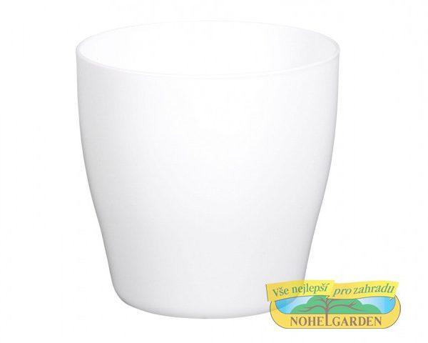 Obal Living 17 cm bílý Lesklý obal na květník z kvalitního plastu. Rozměry: d 17 x 17 cm.