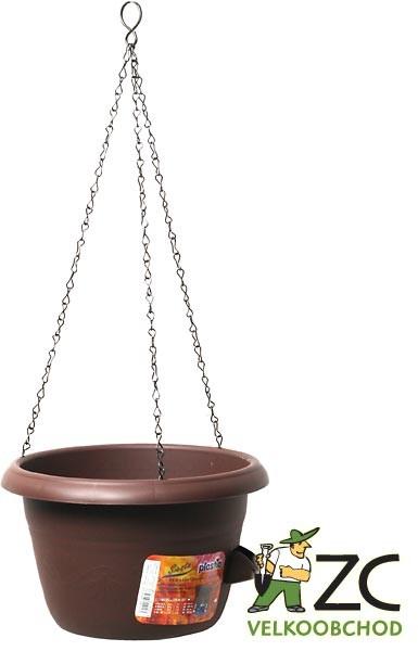 Žardina samozavlažovací Siesta závěs 25 cm čokoláda Popis:Žardiny s profesionálním zavlažovacím systémem (včetně kovového řetízku na zavěšení).Materiál:plastBarva:čokoládováRozměry:průměr: 25 cmvýška: 15