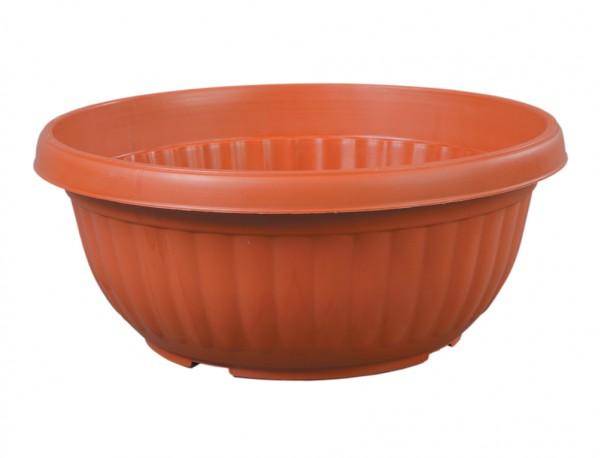 Žardinka HARMONIE 30 cm terakota Plastová kónická žardinka v terakotové barvě se svisle vylisovanými vlnkami po obvodu a s ohnutým horním okrajem směrem ven. Používá se v interiéru i v exteriéru pro výsadbu rostlin a pro různá sezónní aranžmá. Průměr 30 cm