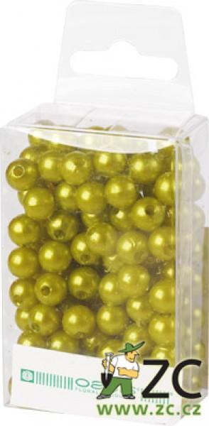 Dekorační perly - 8 mm (144 ks) světle zelené Popis:Dekorační umělohmotné navlékací perly v průhledné plastové krabičce na zavěšení