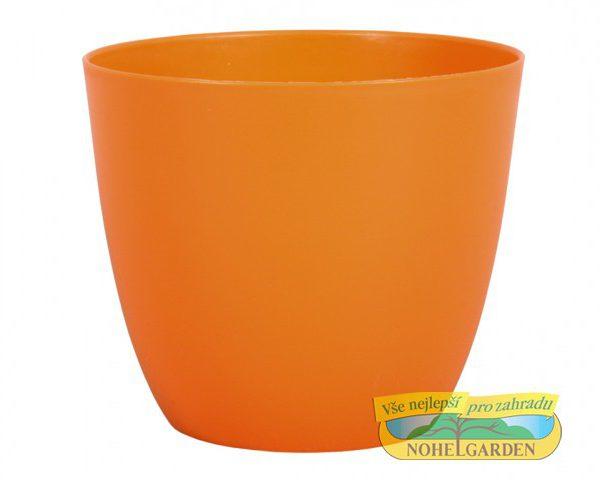 Obal Patricie 25 cm oranžový Matný antracitový plastový jemně kónický obal pro květníky s interiérovýma rostlinama. Rozměry: d. 25 x v. 22cm