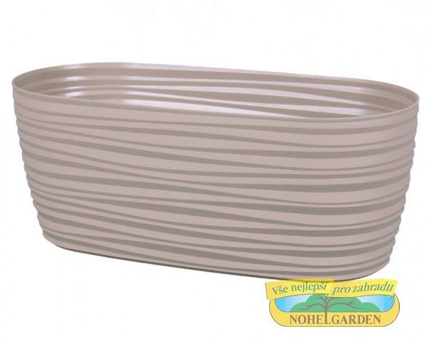 Truhlík Sahara Petit 27 cm hnědo šedý Lesklý plastový truhlík s jemnými vlnkami po celém obvodu. Šířka: 27 cm