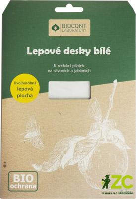 Desky Biocont bílé - švestky a jabloně 5 ks Popis a použití:Samice pilatek vyhledávají bílou barvu květů švestek a slív