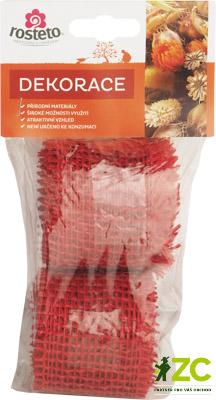 Jutová stuha 4 cm x 3 m - červená 2 ks Popis:Jutová stuha se používá hlavně k dekoračním a aranžérským účelům v balení po 2ks s eurozávěsem.Rozměr:šířka: 4 cmdélka: 3 mBarva:červená