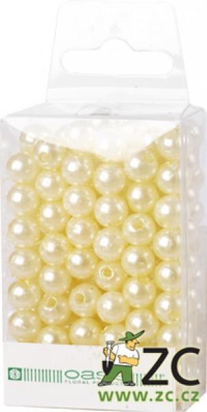 Dekorační perly - 8 mm (144 ks) krémové Popis:Dekorační umělohmotné navlékací perly v průhledné plastové krabičce na zavěšení