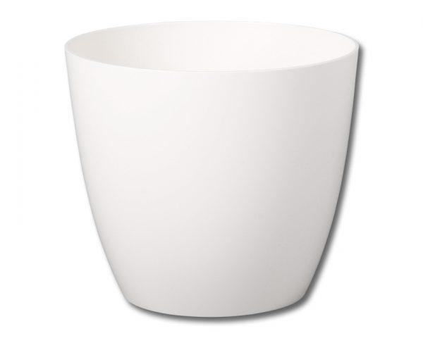 Obal Ella 25 cm bílý Plastový obal na květník v klasickém tvaru s lesklým povrchem. Barva: bílá. Šířka: 25 cm