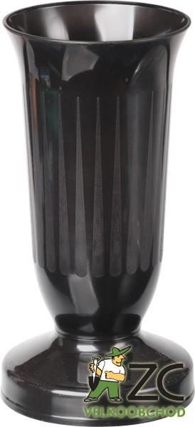 Váza hřbitovní KALICH těžké dno černá Popis:Plastová váza se zátěží v podstavci určená především na hřbitov