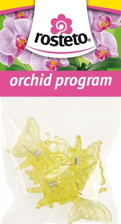 Klips Motýl Rosteto - 4 ks žlutý Popis:Dekorativní klipsy ve tvaru motýla slouží k uchycení květního stvolu orchidejí k opěrné tyčce. Jsou balené po 4 ks v igelitovém sáčku s EURO závěsem - pro možnost zavěšení na stojan.Materiál:plastBarva:žlutá