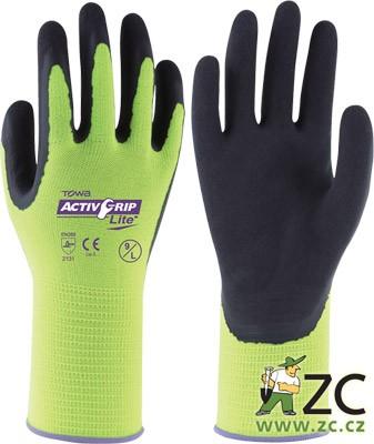 Rukavice AktivGrip Lite (vel.10/XL) Popis:ActivGrip Lite jsou průmyslové rukavice prémiové kvality. Díky bezešvé podšívce z vlny a polyesteru a trvanlivému latexovému povrchu jsou vhodné pro veškeré práce ve znečištěném prostředí. Latexový povrch rukavic zajišťuje omezený průnik vody k pokožce rukou. Technologie MicroFinish® a ergonomický design zajišťují maximální pohodlí