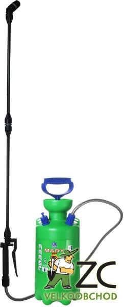 Postřikovač ruční - Mary 5 l Popis:Tlakový ruční postřikovač určený pro malé a střední zahrady. Je vybaven pojistným ventilem chránícím před přetlakováním. Balení obsahuje popruh na rameno pro snadnější přenášení.Teplota postřikové kapaliny: min. 1° - max. 40°.Během postřiku se chraňte vhodným ochranným oděvem.