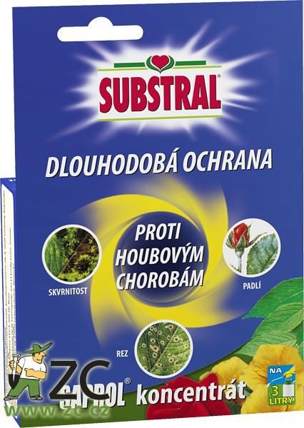Substral Saprol - 30 ml Účinná látka: Triticonazole 10 g / l Popis a působení:Fungicidní přípravek proti houbovým chorobám růží