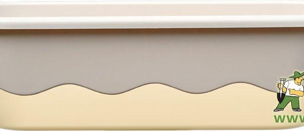 Truhlík samozavlažovací Mareta 60 cm sv.+ tm. slonová kost Popis:Plastový samozavlažovací truhlík Mareta obsahuje hladinoměr