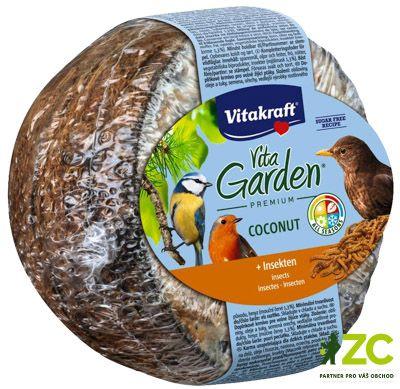 Kokosový ořech plněný hmyzem Popis produktuDoplňkové krmivo pro zahradní ptactvo.Popis:Doplňkové krmivo pro zahradní ptactvo. Kokosy VITA GARDEN® jsou bohaté na tuky