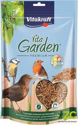 Mouční červi pro venkovní ptactvo - 200 g Vita Garden Popis produktuDoplňkové krmivo pro zahradní ptactvo.Popis:Doplňkové krmivo pro zahradní ptactvo. Larvy moučných červů jsou dokonalým doplňkem stravy volně žijících zahradních ptáků. Obsahují velké množství bílkovin