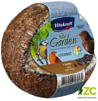 Kokosový ořech plněný semínky Popis produktuDoplňkové krmivo pro zahradní ptactvo.Popis:Doplňkové krmivo pro zahradní ptactvo. Kokosy VITA GARDEN® jsou bohaté na tuky