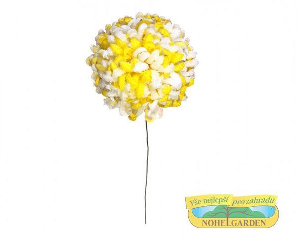 Chryzantéma vosková - bíložlutá 24 ks Popis:Květ z voskovaného papíru pro výrobu smutečních věnců a kytic.Barva:bílá se žlutými konciRozměr:Průměr: 14 cm